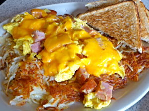 Ham & Eggs Scramble with Cheese at Beth's Cafe