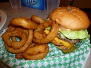 Cheeseburger and onion rings at the Nook