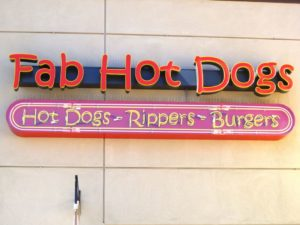 Fab Hot Dogs Sign